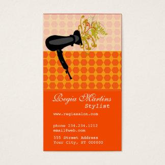 Hair Stylist Bold Pattern Dryer Blow Flower Business Card