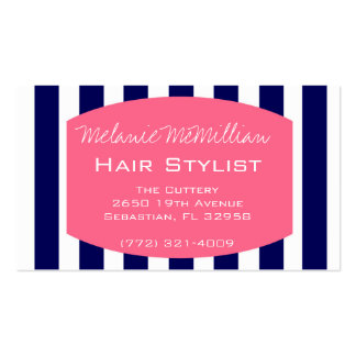 Hair Stylist Business Appointment Card | Navy Pink Business Card Template