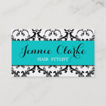 Hair Stylist Business Card Damask Blue