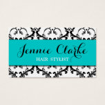 Hair Stylist Business Card Damask Blue at Zazzle
