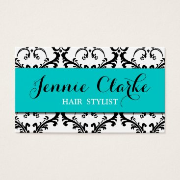 Professional Business Hair Stylist Business Card Damask Blue