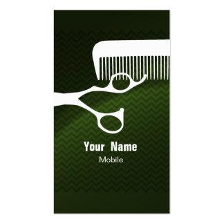 Hair Stylist Chevron Green Business Card