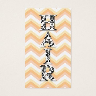 Professional Business Hair Stylist Chevron Peach Damask Business Card