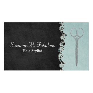 Hair Stylist Chic Black And Teal with Flower Vine Double-Sided Standard Business Cards (Pack Of 100)