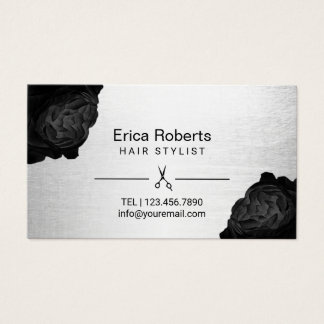 Hair Stylist Chic Black Floral Silver Appointment Business Card