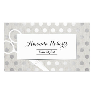 Hair Stylist Chic Silver Dots Elegant Linen Business Card