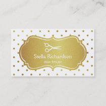 Hair Stylist - Chic White Gold Glitter Polka Dots Business Card