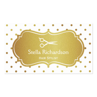 Hair Stylist - Chic White Gold Glitter Polka Dots Double-Sided Standard Business Cards (Pack Of 100)