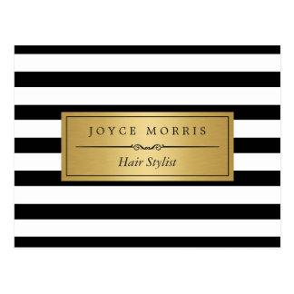 Hair Stylist - Classic Black White Stripes Postcard