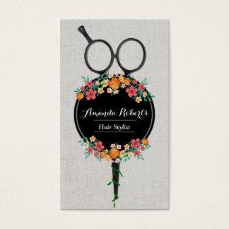 Hair Stylist Classy Scissor & Flowers Appointment Business Card