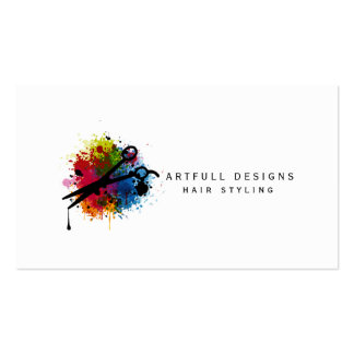 hair stylist colorful paint splatter minimalist business cards