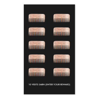 Hair Stylist Comb 10 Punch Customer Loyalty Card