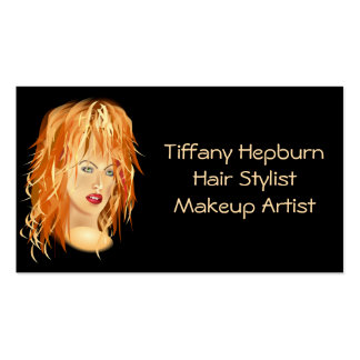 Hair Stylist Cosmetologist Elegant Red Head Business Card