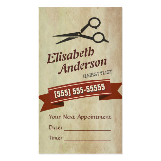 Hair Stylist - Creative Retro Appointment Card Double-Sided Standard Business Cards (Pack Of 100)
