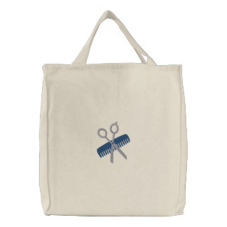 Hair Stylist Customizable Totes - Blue Embroidered Tote Bag