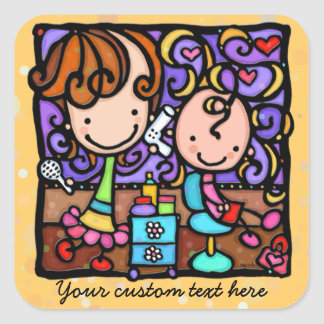 Hair stylist. Cute promotional stickers.Hair salon Square Sticker