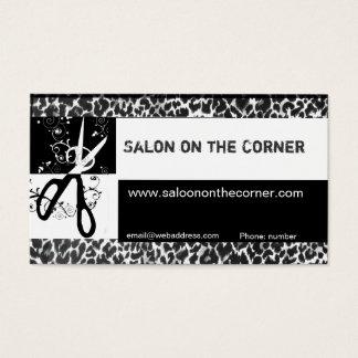 Hair Stylist Cutting Scissors Wild Leopard  Salon Business Card