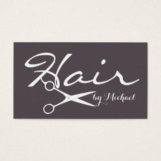 Hair Stylist Elegant Dark Liver Background Business Card