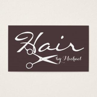 Hair Stylist Elegant Dark Puce Background Business Card
