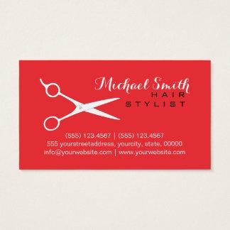 Hair Stylist Elegant Deep Carmine Pink Background Business Card
