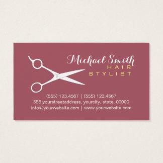 Hair Stylist Elegant Deep Puce Background Business Card