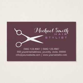 Hair Stylist Elegant Deep Tuscan Red Background Business Card