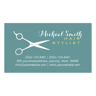 Hair Stylist Elegant Desaturated Cyan Background Business Card