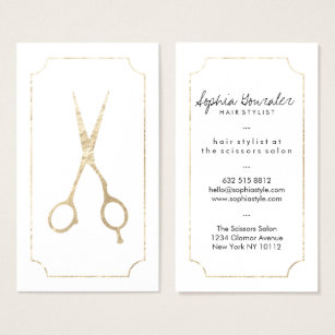 Hair stylist business cards zazzle hair stylist elegant faux gold scissors white chic business card accmission Images