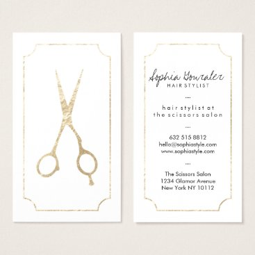busied Hair stylist elegant faux gold scissors white chic business card