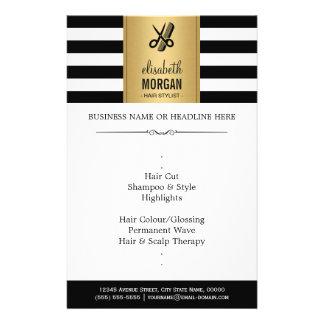 Hair Stylist Elegant Gold Black White Stripes Flyer