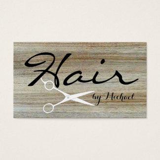 Hair Stylist Elegant Wood Grain Background #4 Business Card