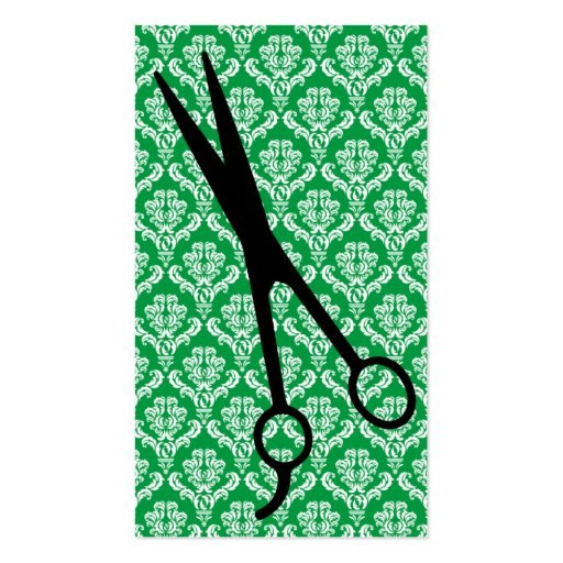 hair stylist emerald green damask scissors cosmo business card templates