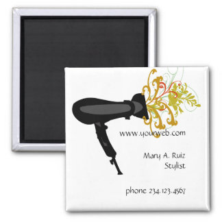 Hair Stylist Flowers Salon Name Tag Magnet