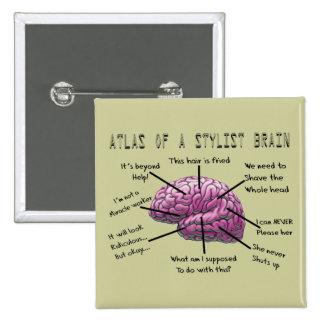 """Hair Stylist Gifts """"Atlas of a Stylist Brain"""" Pin"""