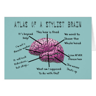 "Hair Stylist Gifts ""Atlas of a Stylist Brain"" Card"