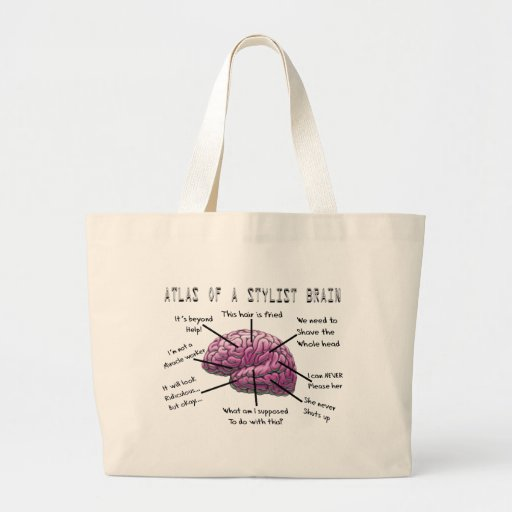 """Hair Stylist Gifts """"Atlas of a Stylist Brain"""" Large Tote Bag"""