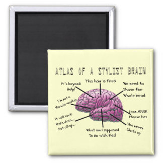 "Hair Stylist Gifts ""Atlas of a Stylist Brain"" 2 Inch Square Magnet"