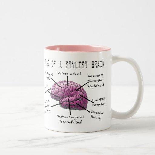 """Hair Stylist Gifts """"Atlas of a Stylist Brain"""" Two-Tone Coffee Mug"""