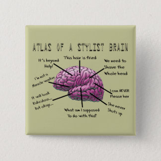 "Hair Stylist Gifts ""Atlas of a Stylist Brain"" Pinback Button"