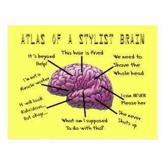 "Hair Stylist Gifts ""Atlas of a Stylist Brain"" Postcard"