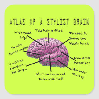 "Hair Stylist Gifts ""Atlas of a Stylist Brain"" Square Sticker"