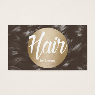 Hair Stylist Gold Circle Brown Hair Background Business Card