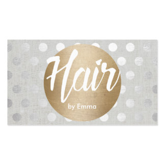 Hair Stylist Gold Circle Silver Dots Modern Business Card