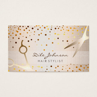 Hair Stylist Gold Glitter Confetti Saloon Business Card