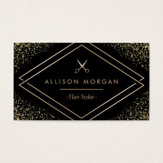 Hair Stylist Gold Glitter Confetti Scissors Logo Business Card