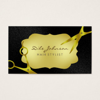 Hair Stylist Gold Glitter Saloon Black Business Card