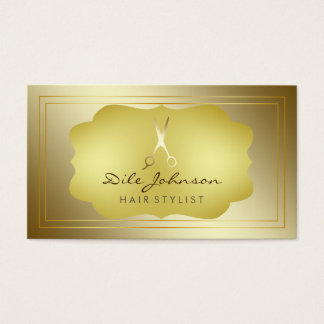 Hair Stylist Gold Glitter Saloon Square Boarder Business Card