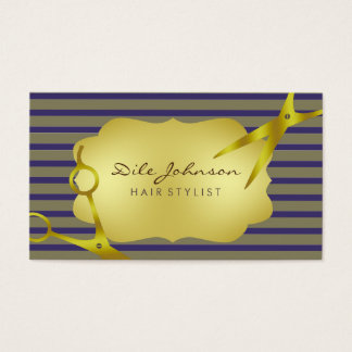 Hair Stylist Gold Glitter Saloon Striped Business Card