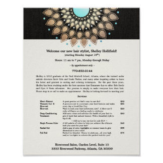 Hair Stylist Gold Ornate Motif Black Linen Look Poster