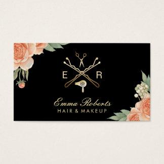 Hair Stylist Gold Salon Logo Vintage Floral Business Card